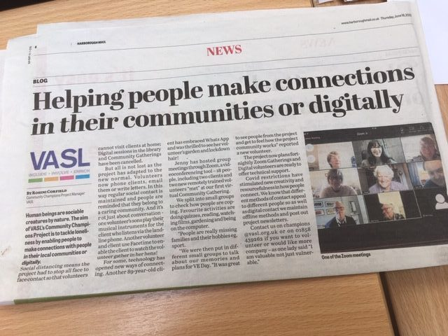 VASL Digital Communications News Article - Harborough Mail 19.07.20