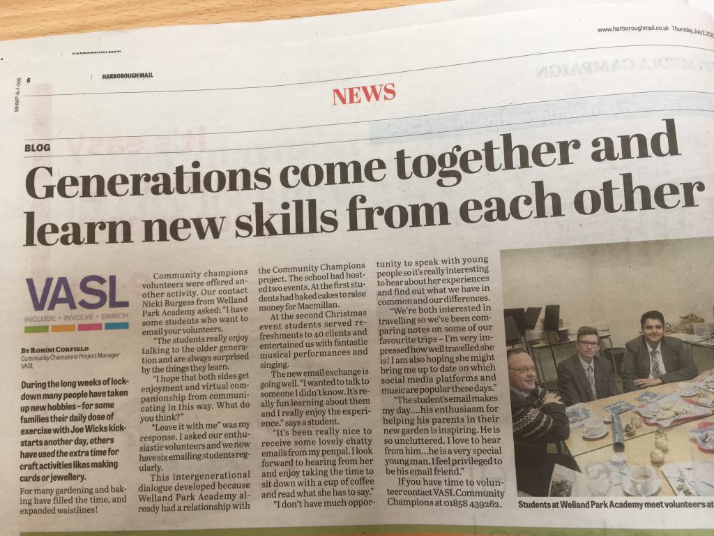 VASL - Harborough News Cutting - July 2020, Generation Skills